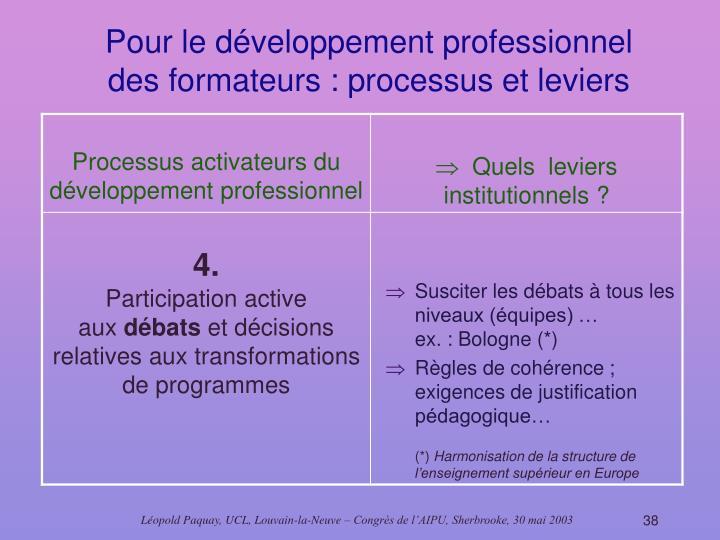 Pour le développement professionnel