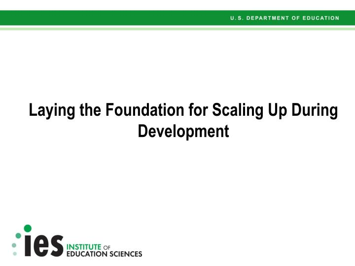 laying the foundation for scaling up during development n.