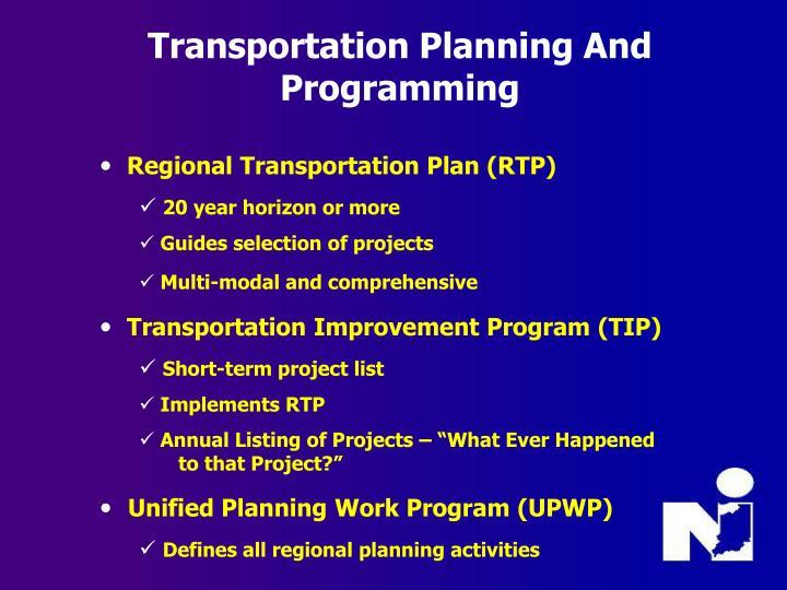 Transportation Planning And Programming