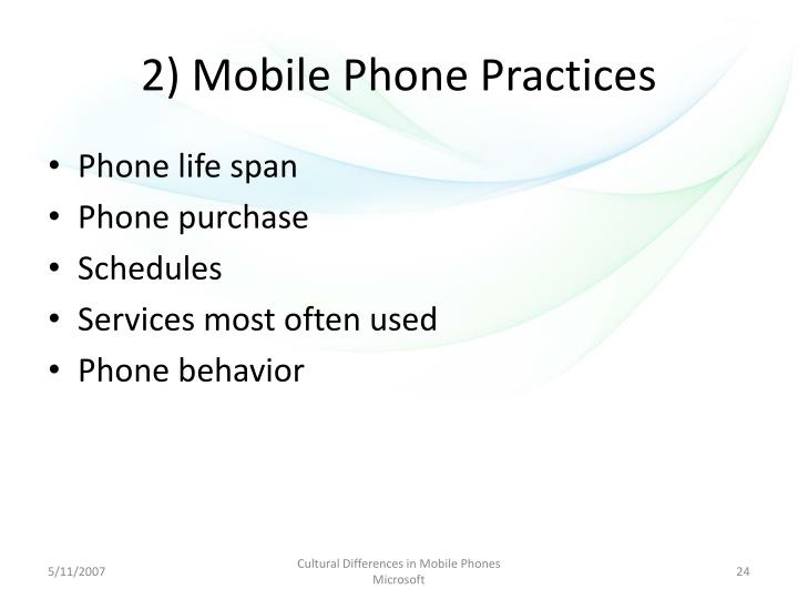 2) Mobile Phone Practices