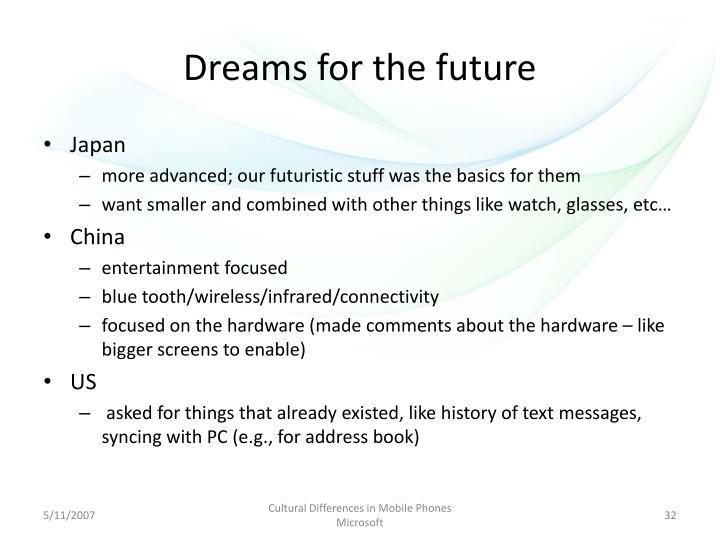 Dreams for the future