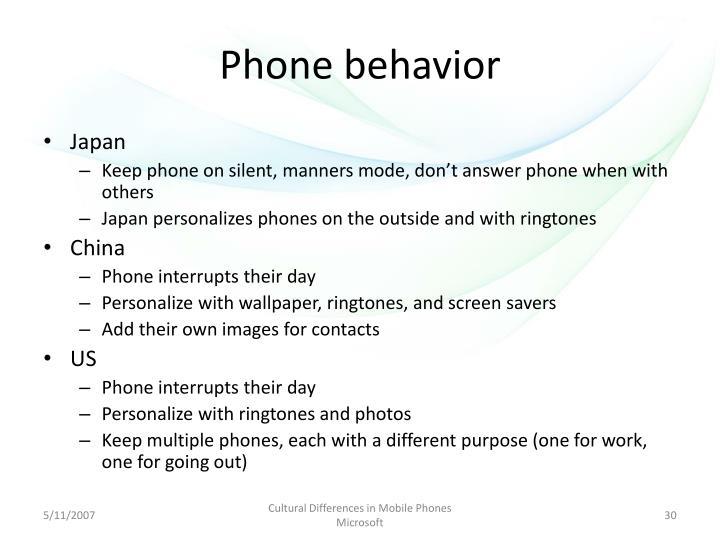 Phone behavior