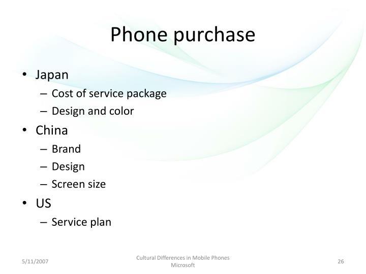 Phone purchase