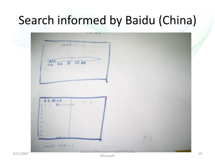 Search informed by Baidu (China)