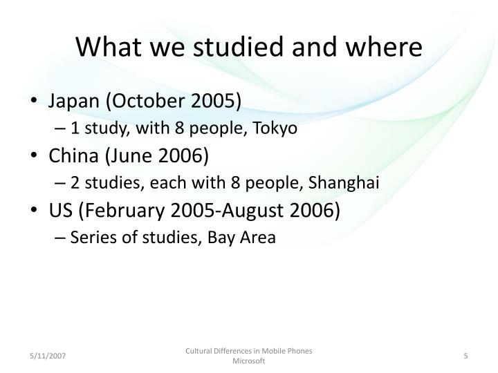 What we studied and where