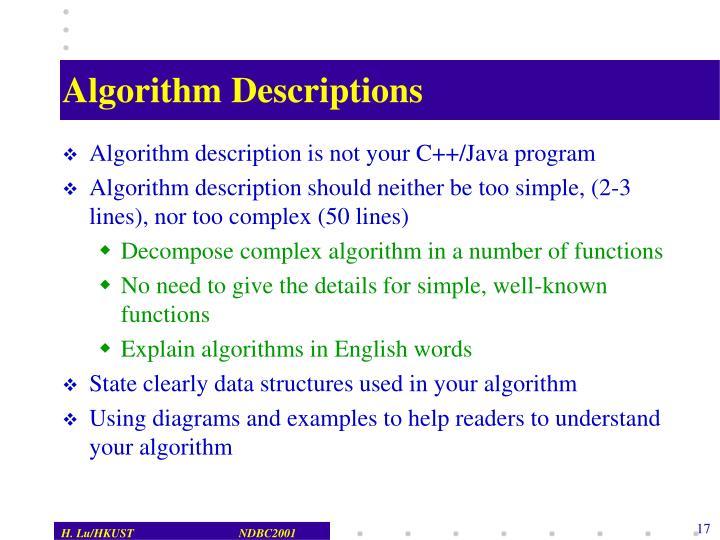 Algorithm Descriptions