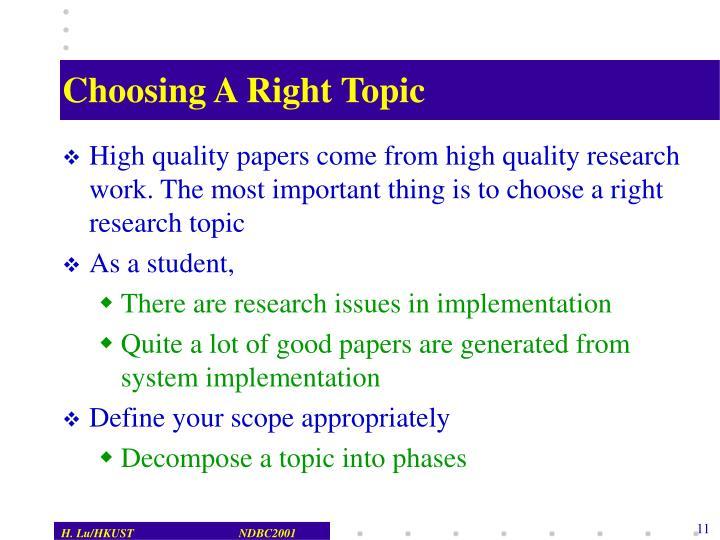 Choosing A Right Topic