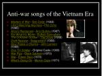 anti war songs of the vietnam era