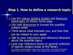 step 1 how to define a research topic