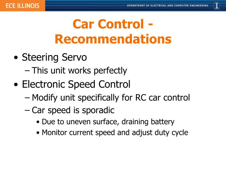 Car Control - Recommendations