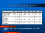 to increase operating cash flow10