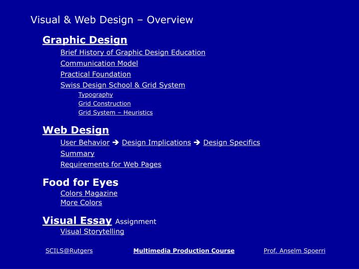 Visual web design overview