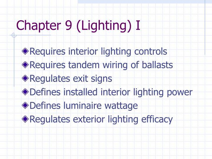 Chapter 9 (Lighting) I