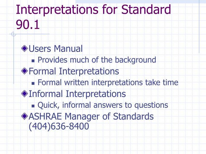 Interpretations for Standard 90.1