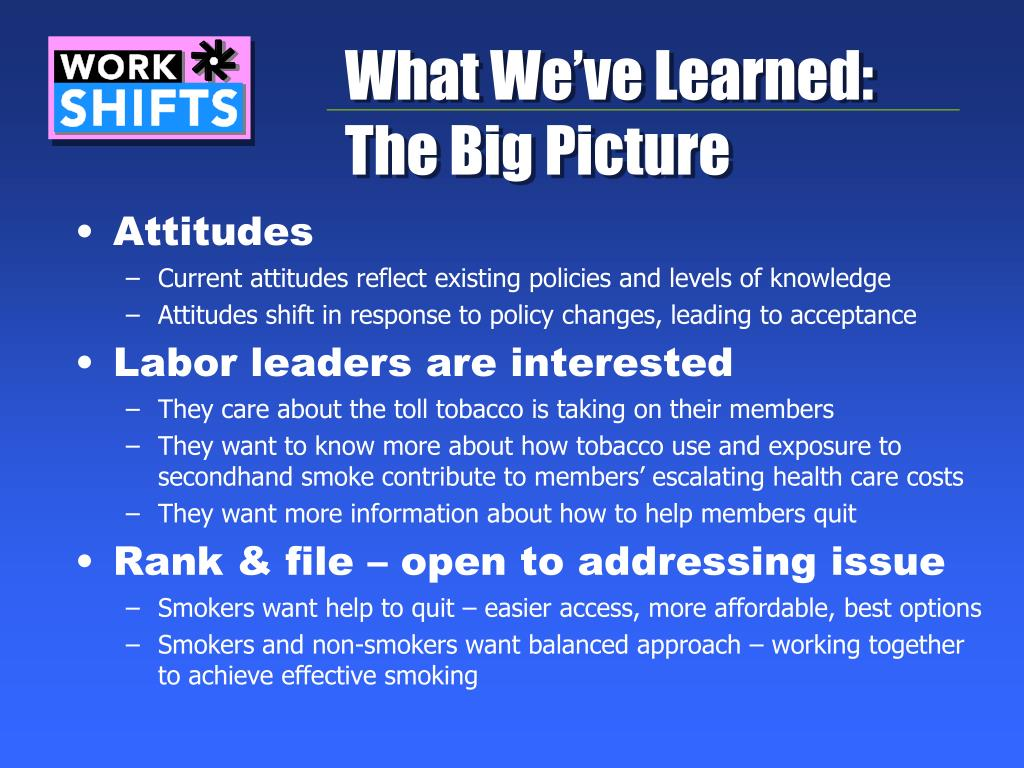 What We've Learned: The Big Picture