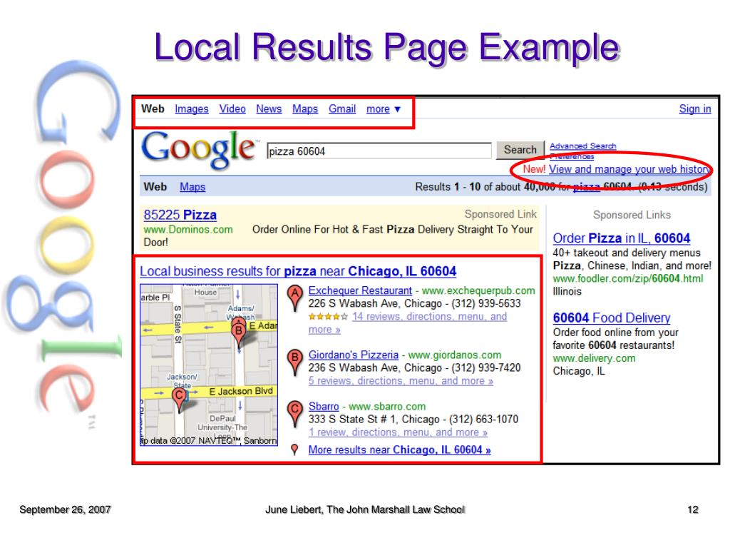 Local Results Page Example