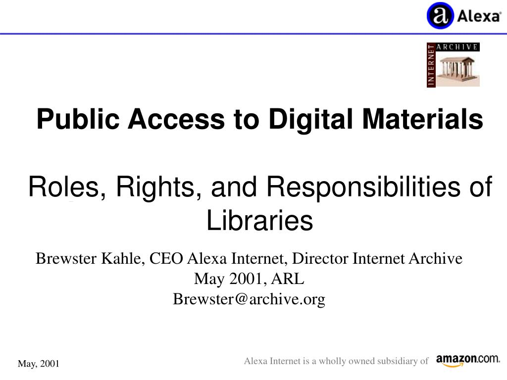 public access to digital materials roles rights and responsibilities of libraries l.