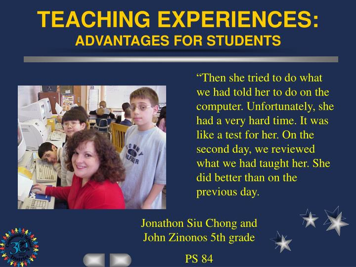 student teaching experiences The purpose of the elementary internships is to provide an opportunity for initial  candidates to obtain experience in the teaching and assessment of social.