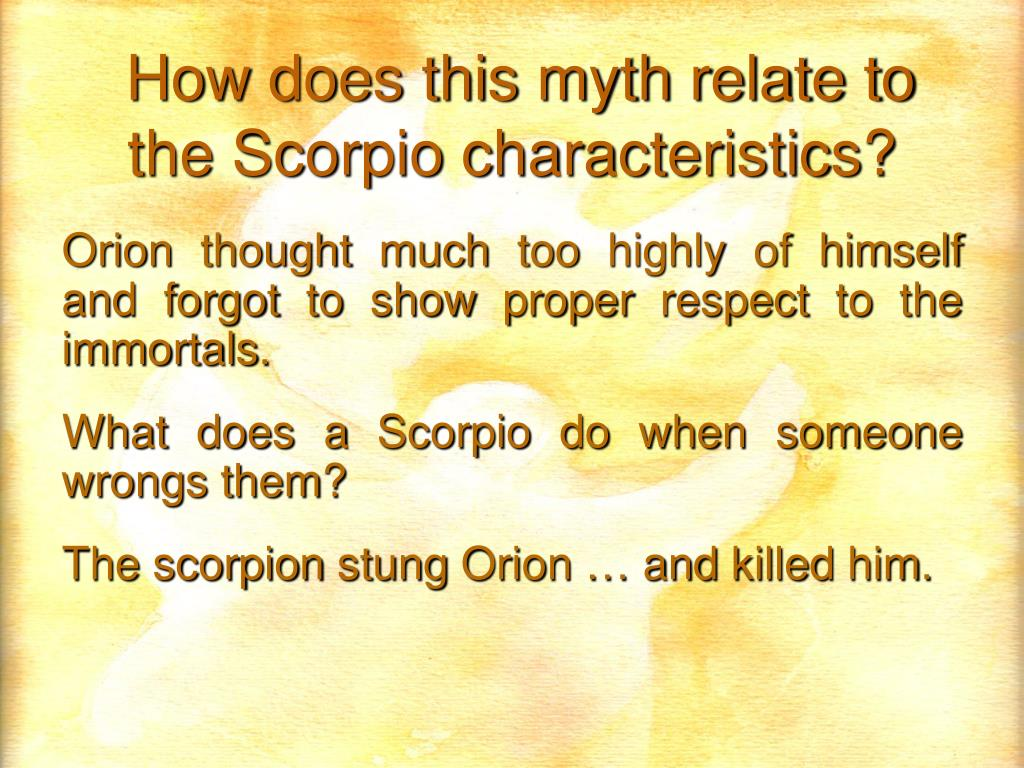 How does this myth relate to the Scorpio characteristics?