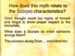 how does this myth relate to the scorpio characteristics