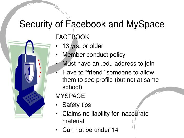 Security of Facebook and MySpace