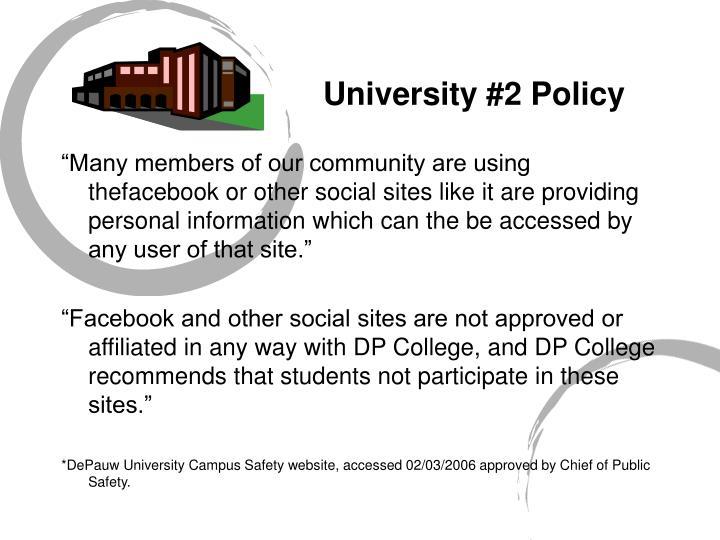 University #2 Policy