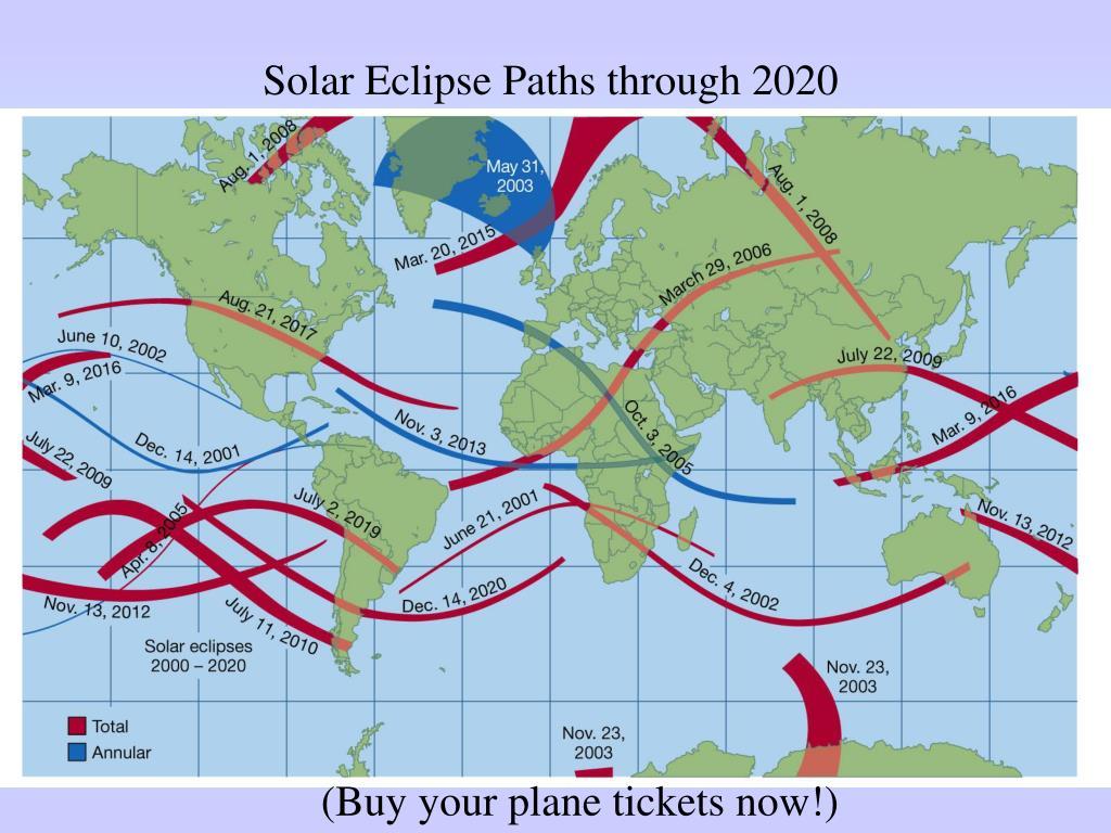 Solar Eclipse Paths through 2020