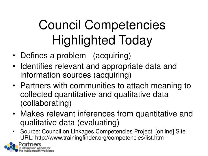 Council Competencies Highlighted Today