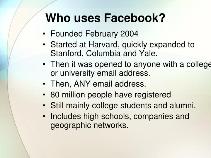 Who uses facebook