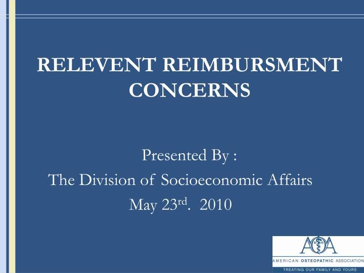 relevent reimbursment concerns n.