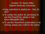 contact dr karen dilka eastern kentucky university