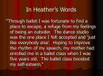 in heather s words