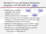 enterprise design and analysis information integration with iso 10303 209