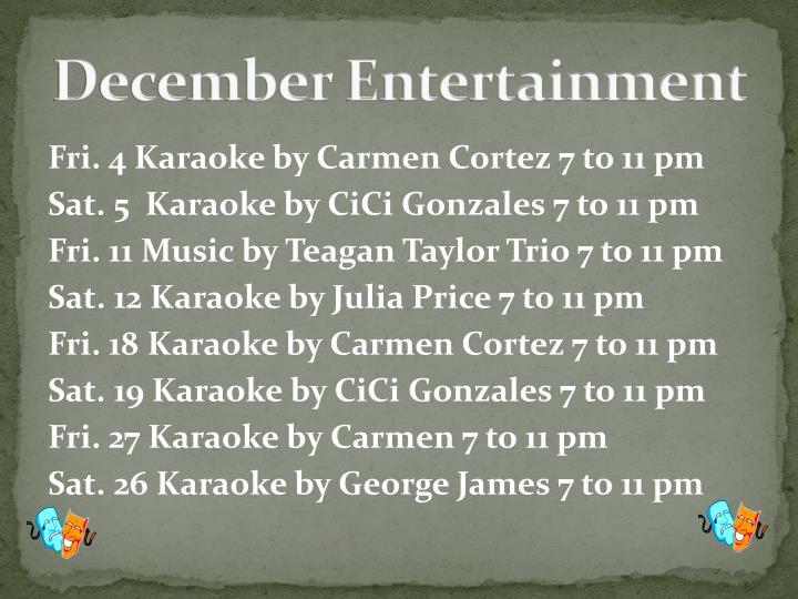 December Entertainment