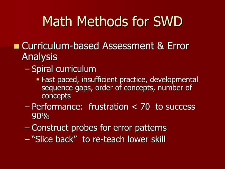 Math Methods for SWD