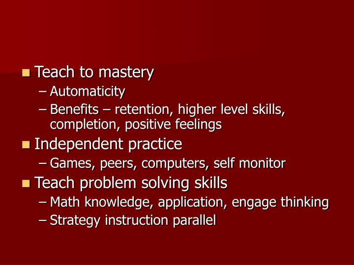 Teach to mastery