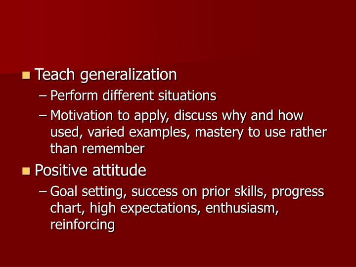 Teach generalization