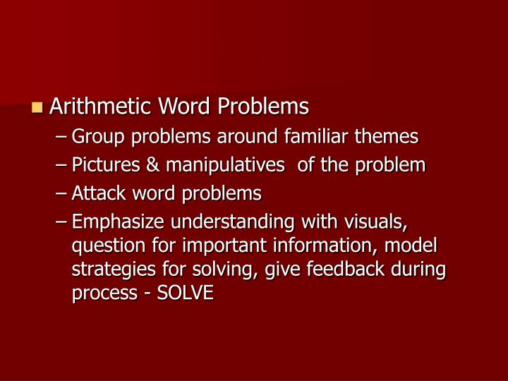 Arithmetic Word Problems