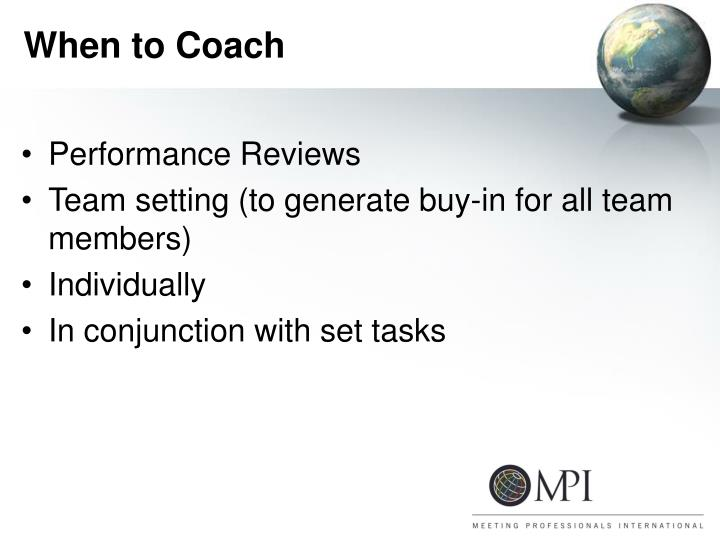 When to Coach