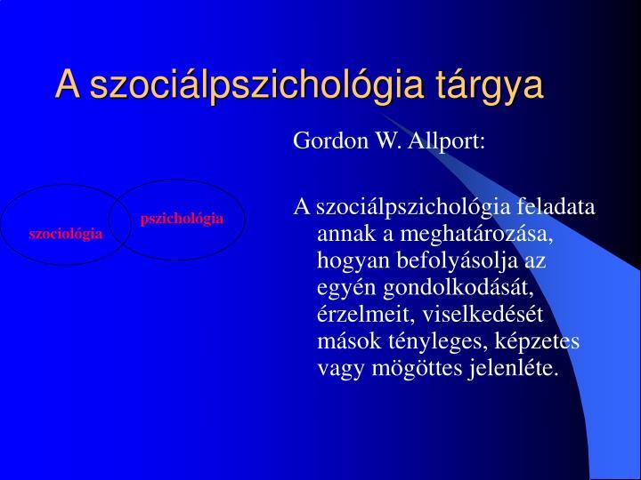 A szociálpszichológia tárgya