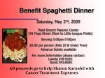 benefit spaghetti dinner