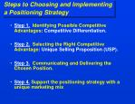 steps to choosing and implementing a positioning strategy
