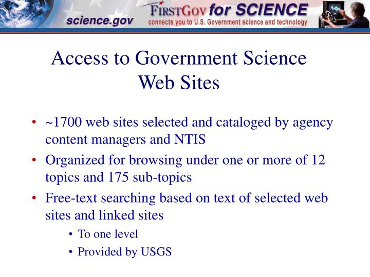 Access to Government Science Web Sites