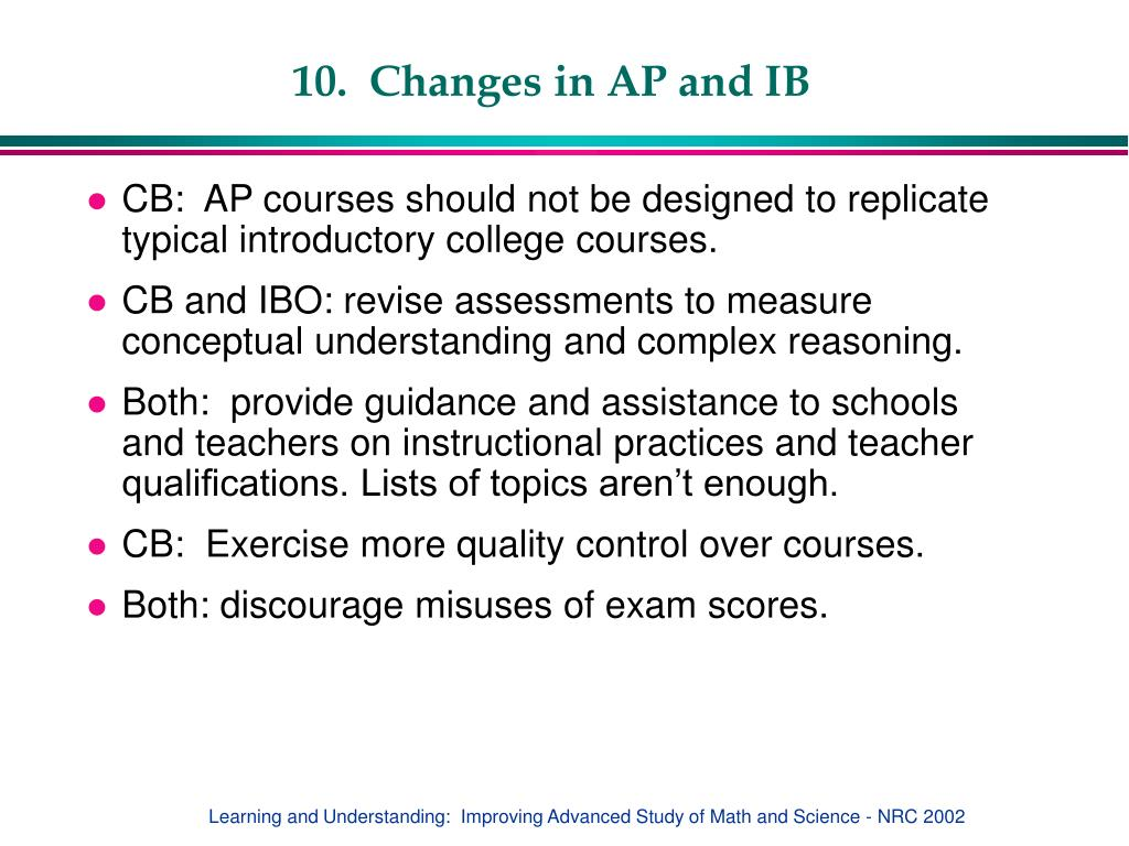 10.  Changes in AP and IB