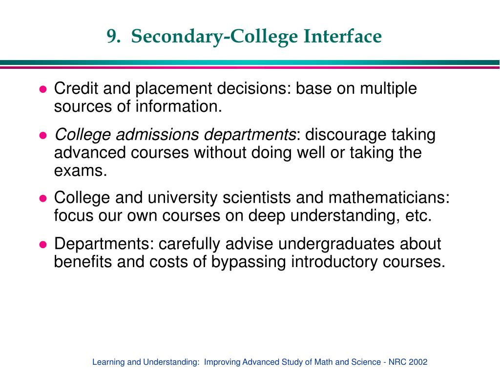 9.  Secondary-College Interface