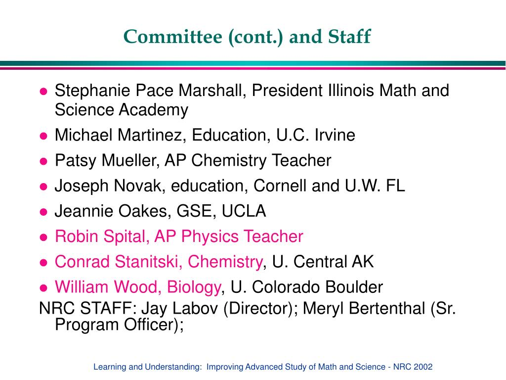 Committee (cont.) and Staff