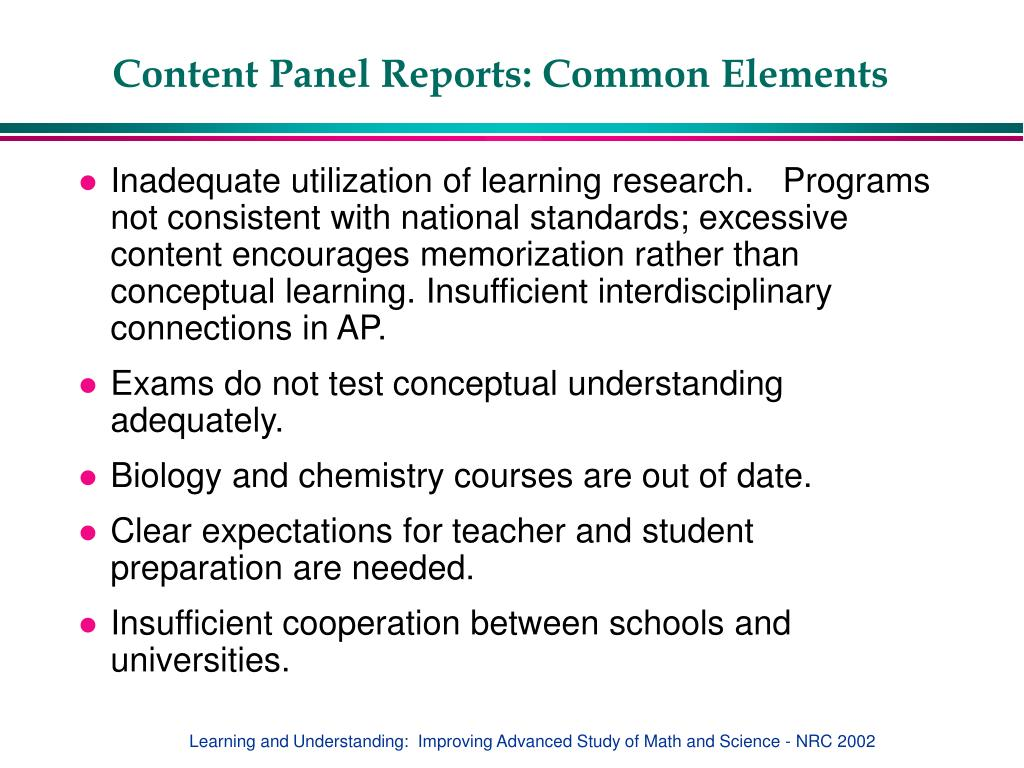 Content Panel Reports: Common Elements