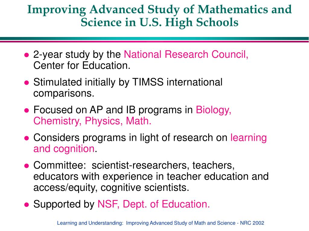 Improving Advanced Study of Mathematics and Science in U.S. High Schools