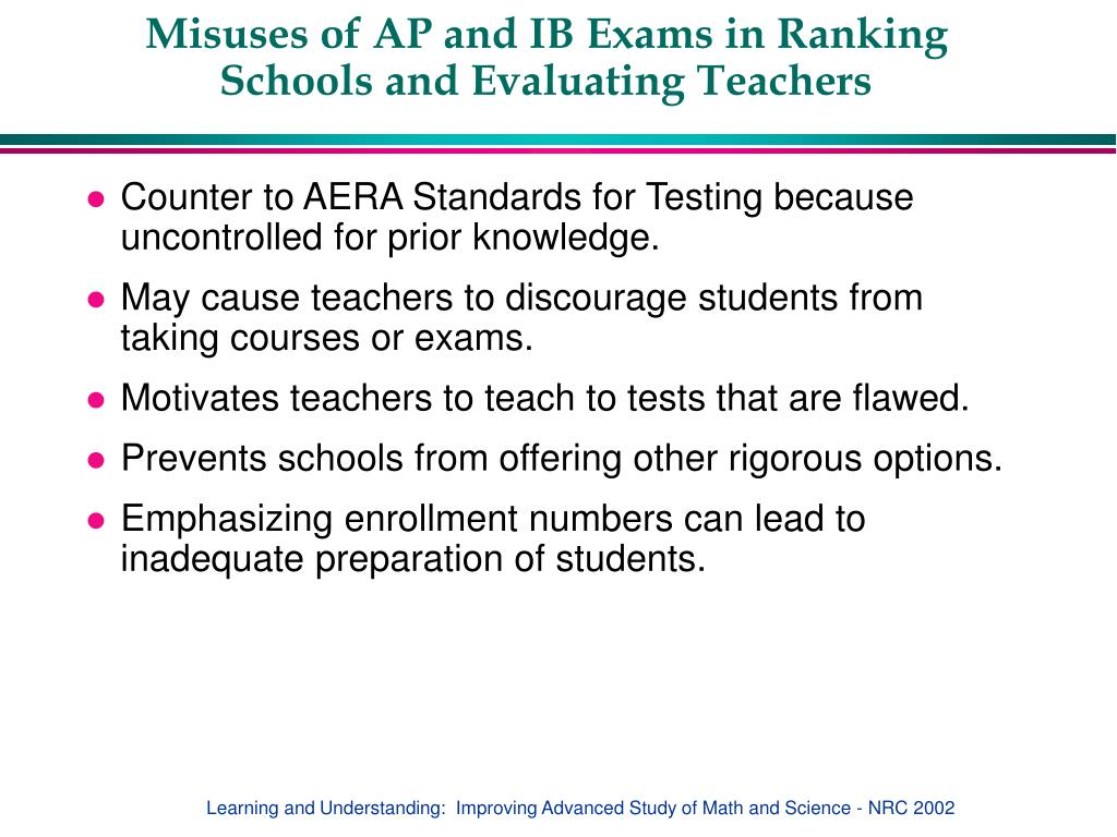 Misuses of AP and IB Exams in Ranking Schools and Evaluating Teachers