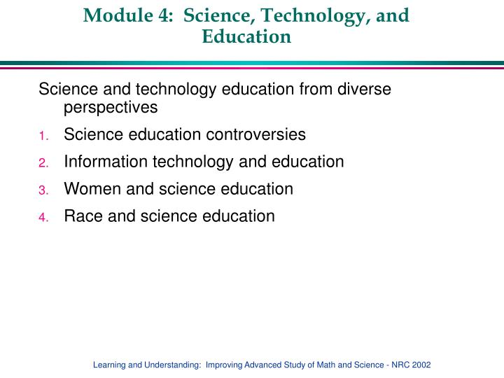 Module 4 science technology and education